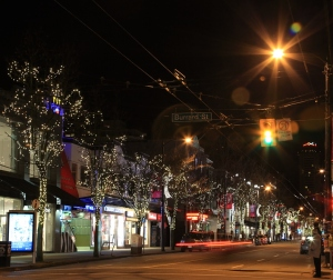 Robson street, Vancouver, lit up for Christmas