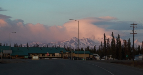 A small Alaskan town nestled in the foothills of a mountain