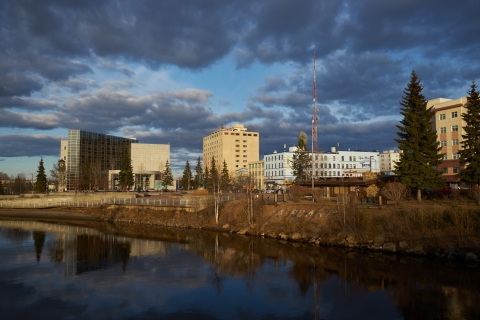 The chenna river late at night in Fairbanks