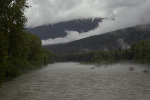 Chilkoot trail fog along the river